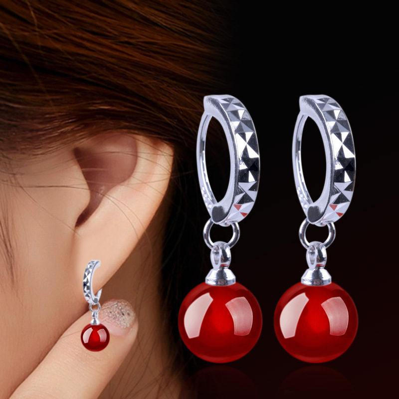 Explosion Earrings Female Natural Black Red Agate Earrings Silver-plated Ear Jewelry