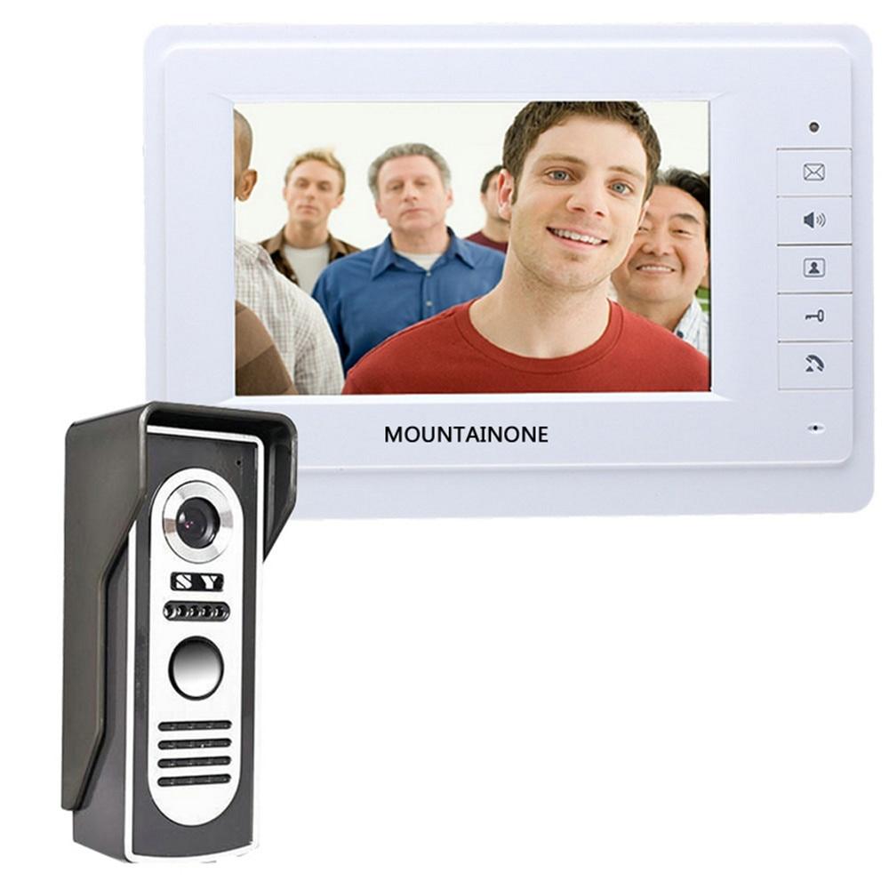 "MOUNTAINONE Wired Video Door Phone Intercom System 7""Color LCD With Waterproof Digital Doorbell Camera Viewer IR Night Vision"