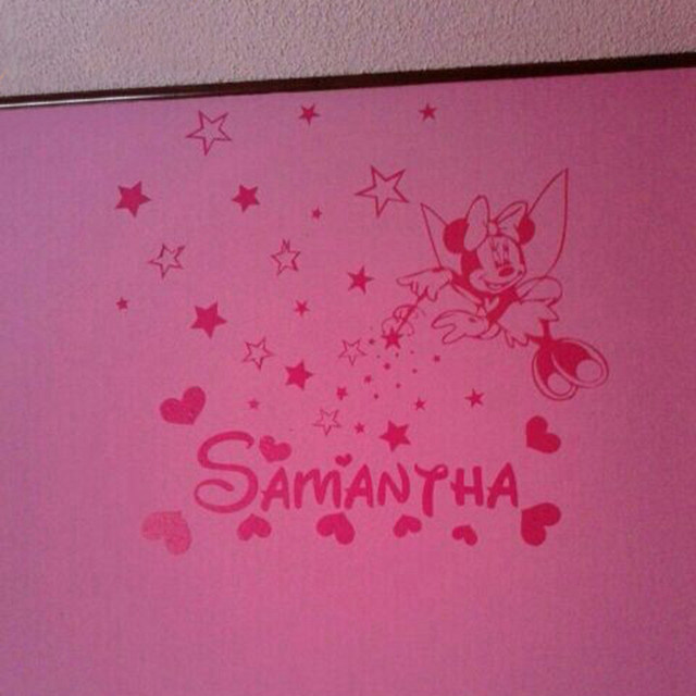Online Shop DIY Minnie Mouse Personalized Name Vinyl Wall Decal ...