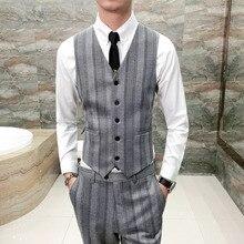 Gray Men Vest Fashion 2018 Slim Fit Striped Business Vests V Neck Sleeveless Casual Host Dress Tuxedo Single Breasted Waistcoat