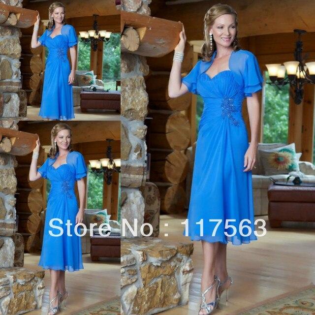 Пользовательские Availale милая голубой шифон чай матери невесты платье с рукавом MQ046