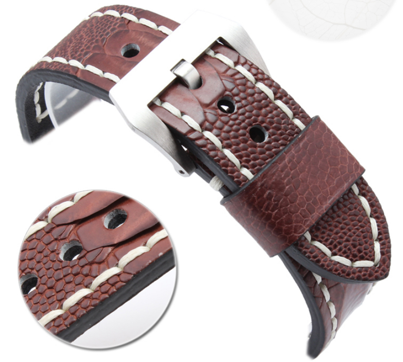 Watch band 24mm 26mm New Mens Real Genuine Ostrich Skin Leather Watchbands Watch Straps Watch Accessrioes Bracelets Watch buckle все цены