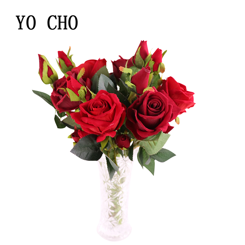 YO CHO wedding decoration real touch 1 flower 2 buds artificial silk flowers home accessories fake 3 floras head rose twig fake rose flowers