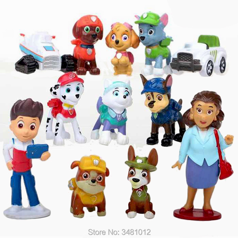 12pcs/set Ryder Everest Marshall Skye Rocky Rubble PVC Action Figures Puppy Dogs Chase Zuma Tracker Anime Figurines Kids Toys ...