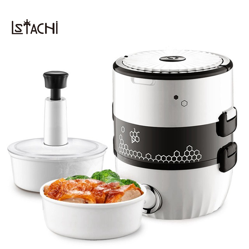 LSTACHi MINI rice cooker Portable electric heating lunch box heated food cooking Warmer Portable 2 layers steamer soup container portable 12v car electric heating lunch box rice cooker food warmer 1 05l 40w