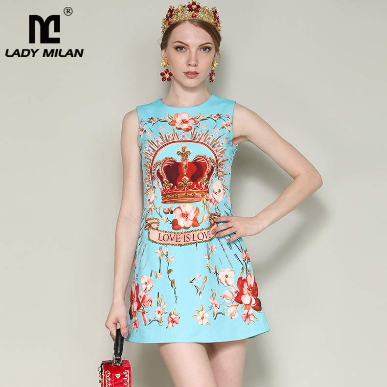 New Arrival 2018 Womens O Neck Sleeveless Floral Printed Beaded A Line Short Designer High Street Casual Summer Dresses