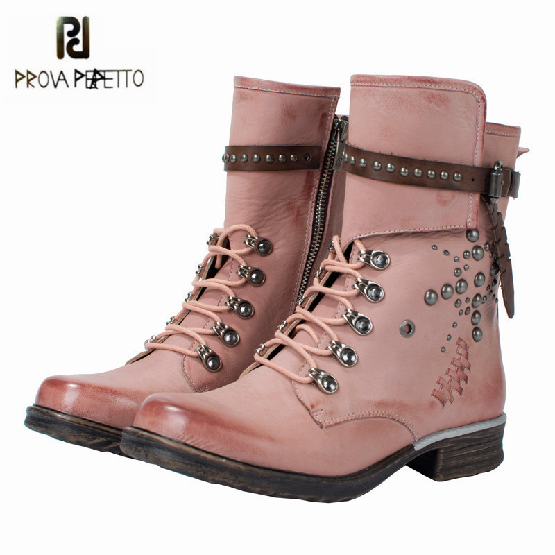 Prova Perfetto Cute Pink Ankle Boots for Women Rivets Studded Soft Leather High Boot Autumn Winter Female Platform Rubber Shoes prova perfetto patchwork ankle boots for women autumn winter flat botas mujer female rivets studded platform rubber shoes woman