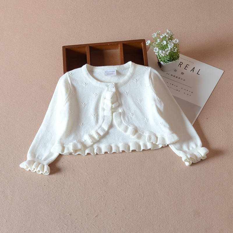 94d0d2a19e375 Baby Girls Cardigan Sweater Long Sleeve White Jacket Cotton Outerwear Baby  Girls Coat For 1 2