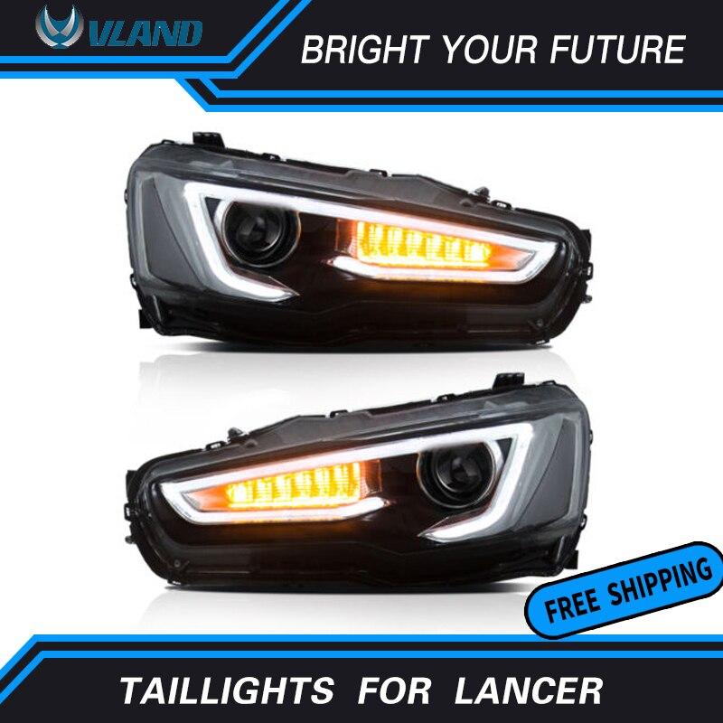 Светодиодная лента переднего света для Мицубиси Лансер фары двойной луч DRL дьявол глаза Halo проектор фара Audi Стиль