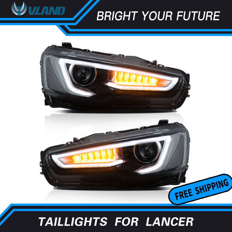 LED Strip Front Light for Mitsubishi Lancer Headlights Dual Beam DRL Devil Eyes Halo Projector Head Lamp Audi Style