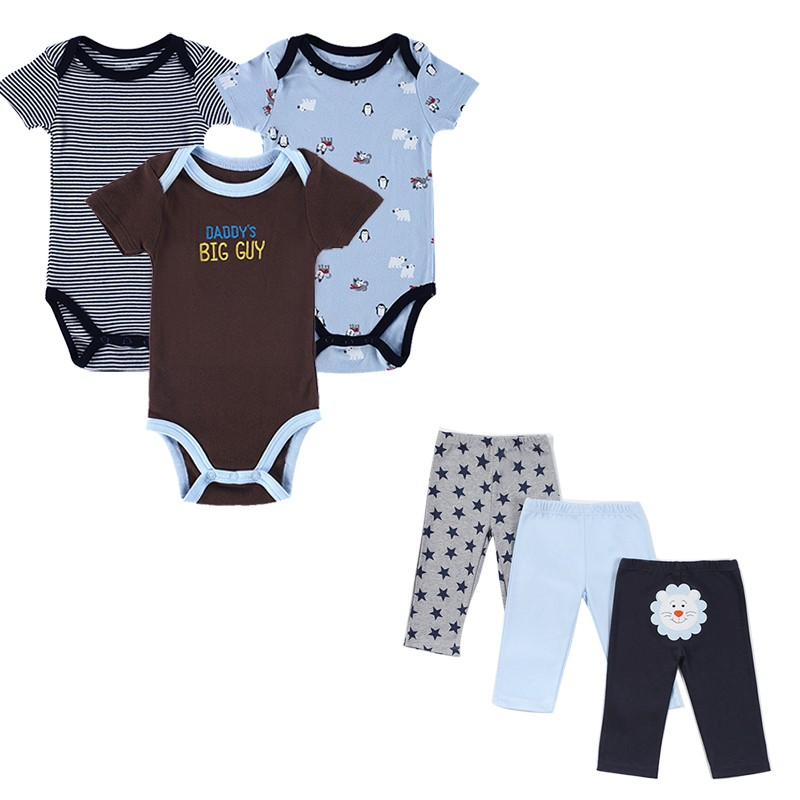 6 Pcslot 2016 Toddler Baby Clothing Sets Summer Outfits Baby's Sets Print Baby Romper Pants Lovley Boy Girl Baby Clothes Set (2)