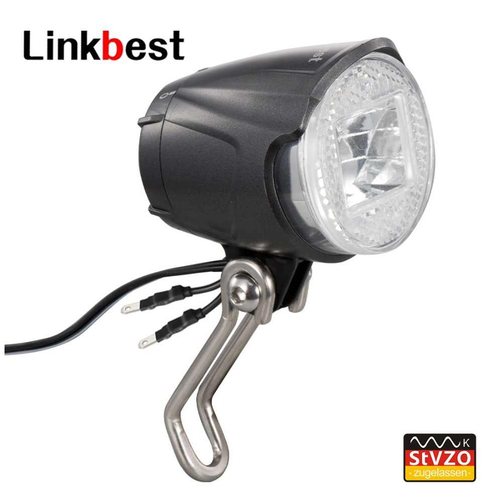 Linkbest Headlight LED Bicycle light StVZO Approved , Cree Led 40 Lux, Waterproof IPX-5, 6V-48V for hub dynamo and ebike