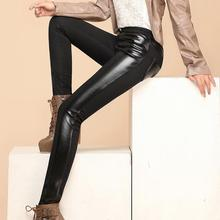 New autumn winter Women Pants Pu Leather Thick velvet stitching bottoming stretch Slim pencil pants Free
