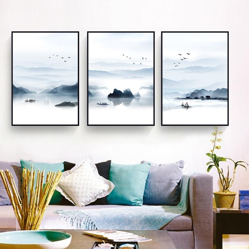 Simple new chinese landscape landscape canvas painting art - Simple canvas painting for living room ...
