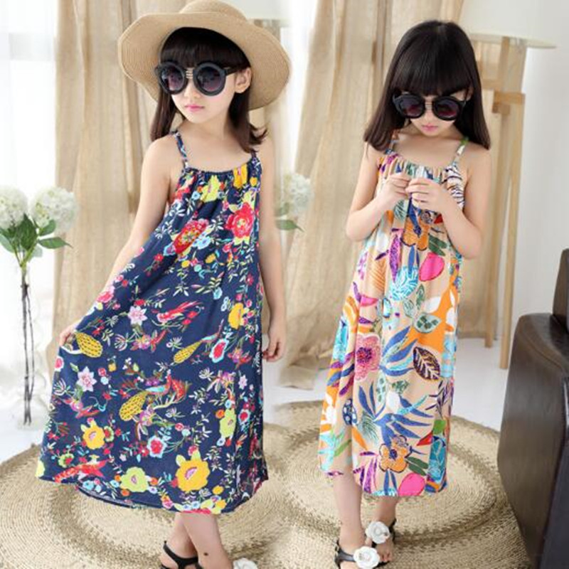 839e16ed Fashion 2017 Bohemian Print Girls Dress Summer Dresses Beach Strap Baby  Long Dress Child Kids Dresses For Girls Clothes JW1411-in Dresses from  Mother & Kids ...
