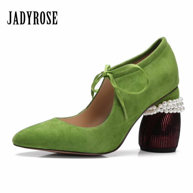 Jady Rose Designer Suede Women Pumps Strange Heel Sexy Ladies Lace Up High Heels Pearl Decor Wedding Dress Shoes Woman Stiletto gold lace pumps women mary jane shoes crystal pearl studded sandals red black pink ladies strange high heels wedding shoes
