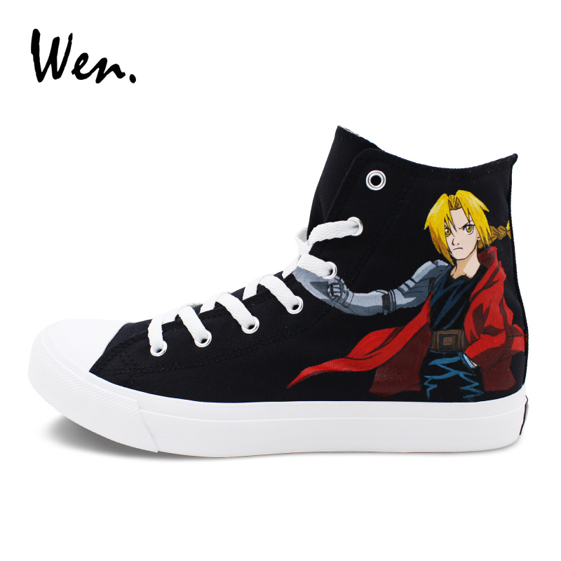Wen Original Classic Black Sneakers Men Women Anime Shoes Custom Design Fullmetal Alchemist Hand Painted Shoes for Man Woman wen mexican style skulls totem original design hand painted shoes for men woman slip ons custom canvas sneakers