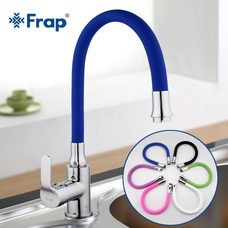 Frap Silicagel Neus Elke Richting Roterende Keuken Kraan Koud en Warm Water Mixer Torneira Cozinha Enkele Handgreep Tap F4353