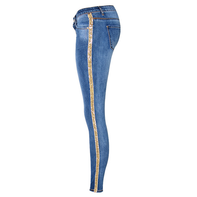 Sexy low waist gold side stripe slim skinny jeans for woman bleached street  fashion sequined inlay 799cd0118a28