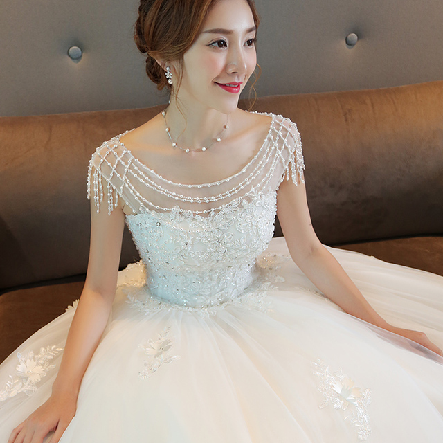 Luxury bride plus size slim white maternity wedding dress elegance ...