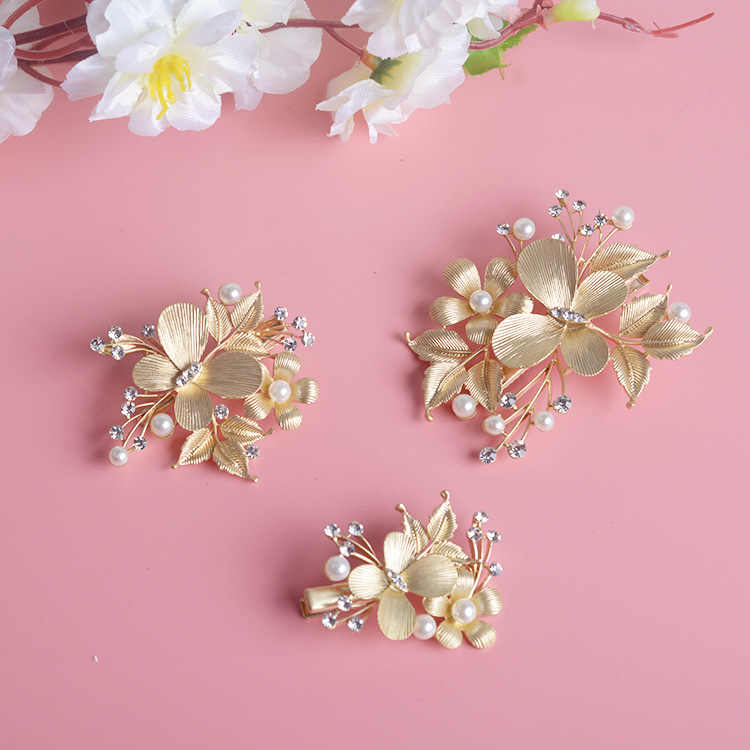 3Pcs/Set Luxury Gold Crystal Pearl Butterfly Hair Comb Hair Sticks Rhinestone Hair Jewelry Bride Hair pins Wedding Accessories