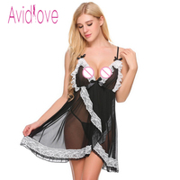 Avidlove Women Sleeveless Lingerie Dress Lace Mesh Patchwork V Neck Nightgown Backless Bow Decor Hot Erotic Sleepwear