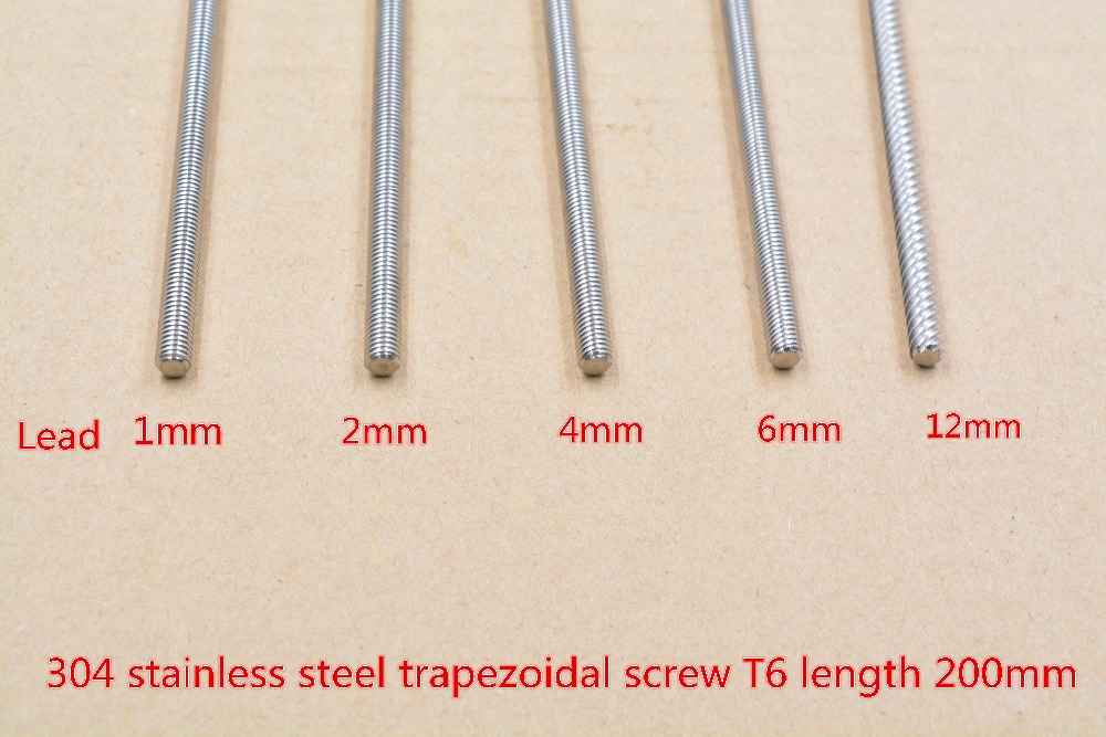 304 stainless steel T6 screw length 200mm lead 1mm 2mm 4mm 6mm 12mm trapezoidal spindle screw 1pcs