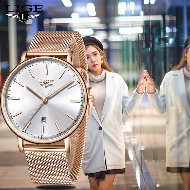 LIGE Women Watch Top Brand Luxury Ladies Simple Ultra thin clock Stainless Steel Mesh With Waterproof Wishwatch Orologio Donna|Women's Watches| |  - title=