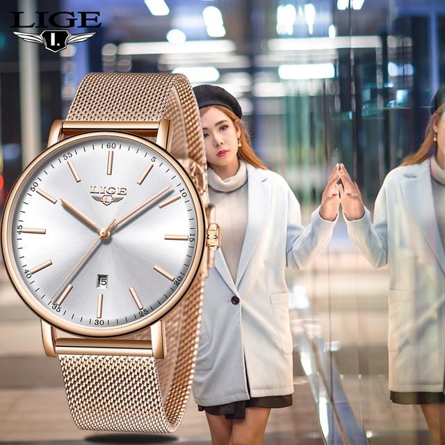 LIGE Women Watch Top Brand Luxury Ladies Simple Ultra-thin Clock Stainless Steel Mesh With Waterproof Wishwatch Orologio Donna