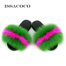 ISSACOCO Summer Womens Fur Slippers Real Fox Woman Slides Home Furry Flat Sandals Female Cute Fluffy House Shoes Flip Flops
