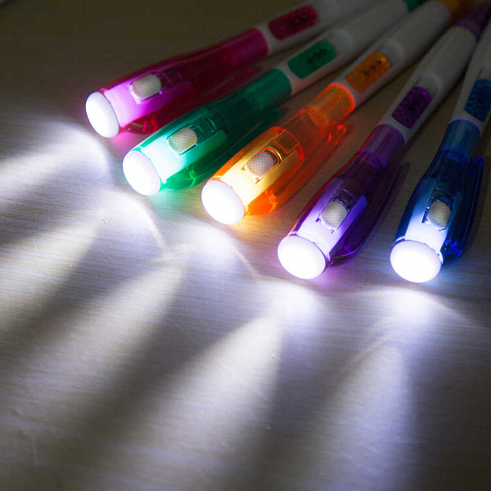 2019 креативные светодиодные шариковые ручки многофункциональные Канцтовары с фонариком аксессуары для рисования ночью