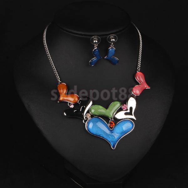 2663ebf5102f Multicolor corazón rhinestone declaración collar pendiente joyería Set  regalo