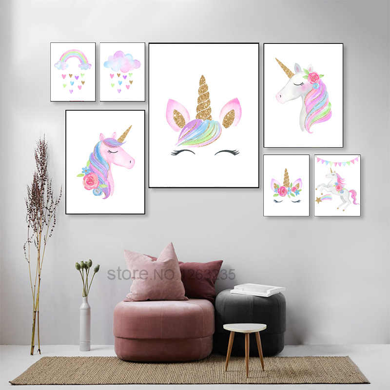 Rainbow Baby Girl Room Decor Unicorn Posters Wall Art Canvas Painting Wall Pictures Poster Unicorn Nordic Kids Bedroom Decor