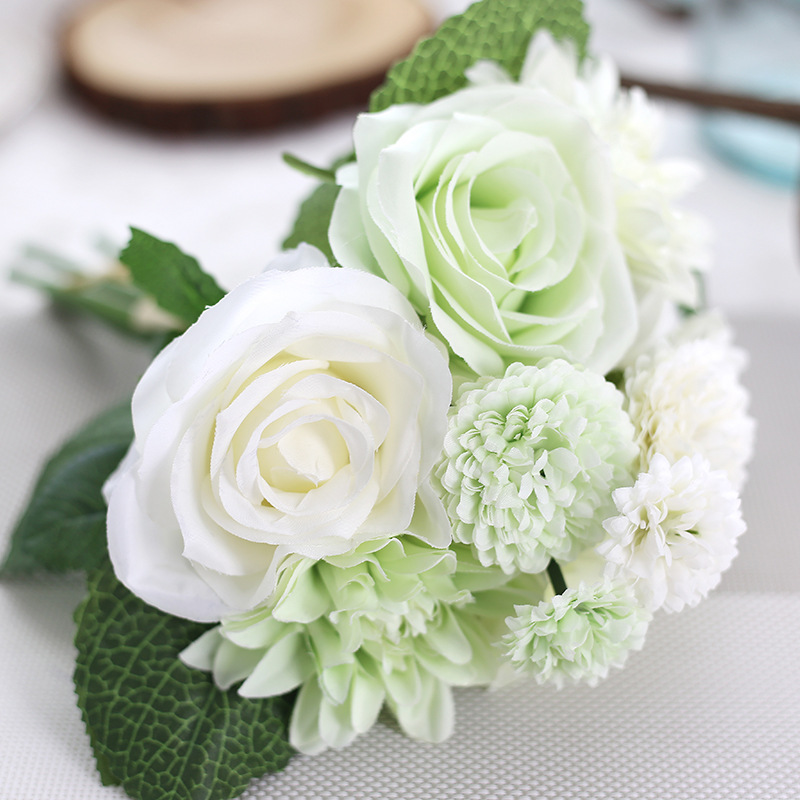 pink silk flower wedding bouquet roses dahlias artificial flowers vivid fake leaf bridal bouquets home bedroom garden artificial u0026 dried