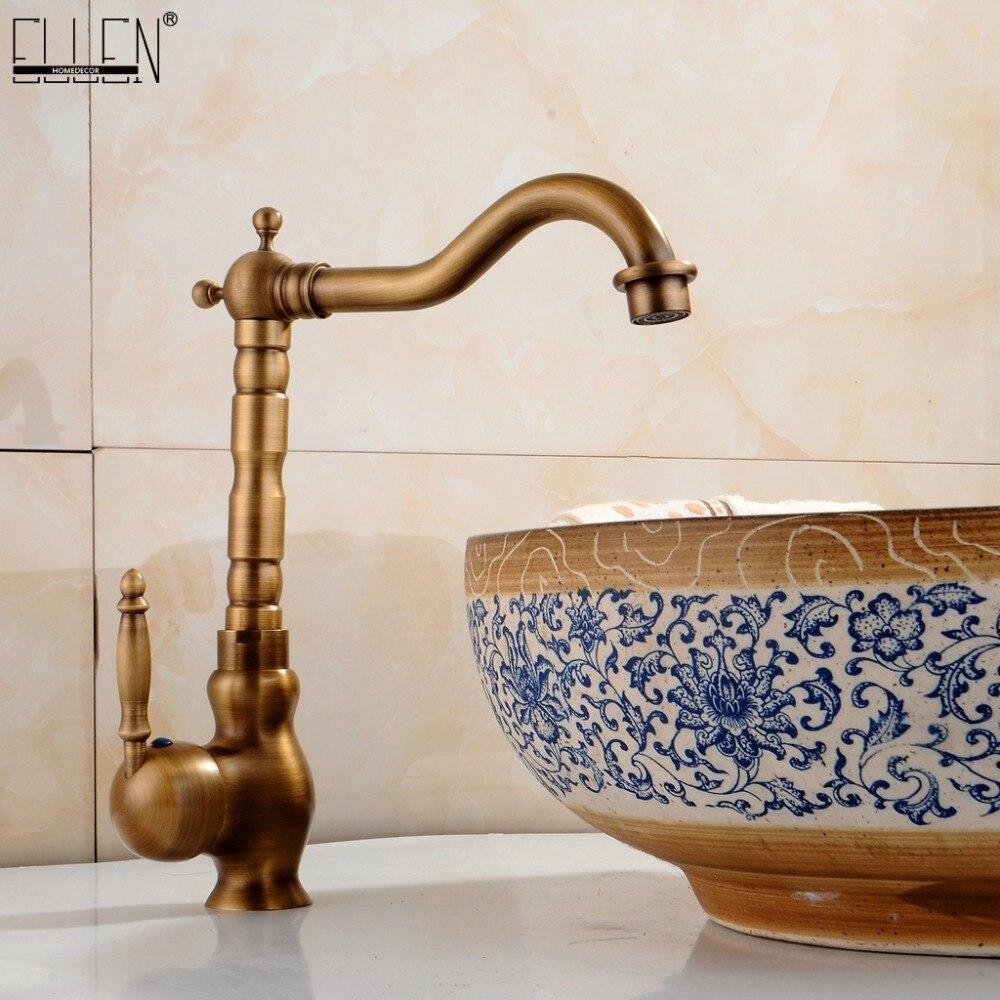 Robinet lavabo salle de bain Antique Bronze 360 degrés tour bassin robinet robinet d'eau poignée unique eau froide et chaude FA9100