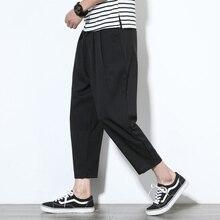 Льняные брюки мужские плюс удобрения XL тренд свободные шаровары модные повседневные девять брюки летние тонкие секции