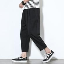 Linen pants men plus fertilizer XL trend loose harem fashion casual nine summer thin section