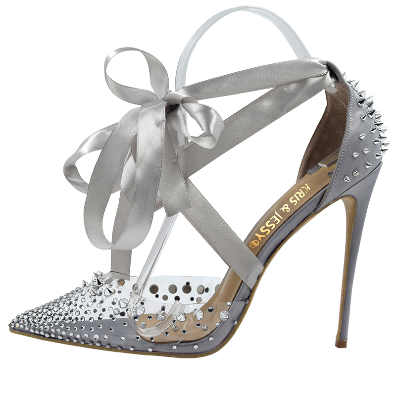 New Hand Made Spikes Covered Heel Sexy Transparent PVC Satin Cross Straps Women Sandals High Heels