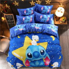 Disney stitch cartoon bedding set queen full size duvet cover sheet pillow case bed linen set(China)