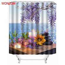 WONZOM Candle and Flower Shower Curtains with 12 Hooks For Bathroom Decor Modern Stone Bath Waterproof Curtain 2017 Home Gift