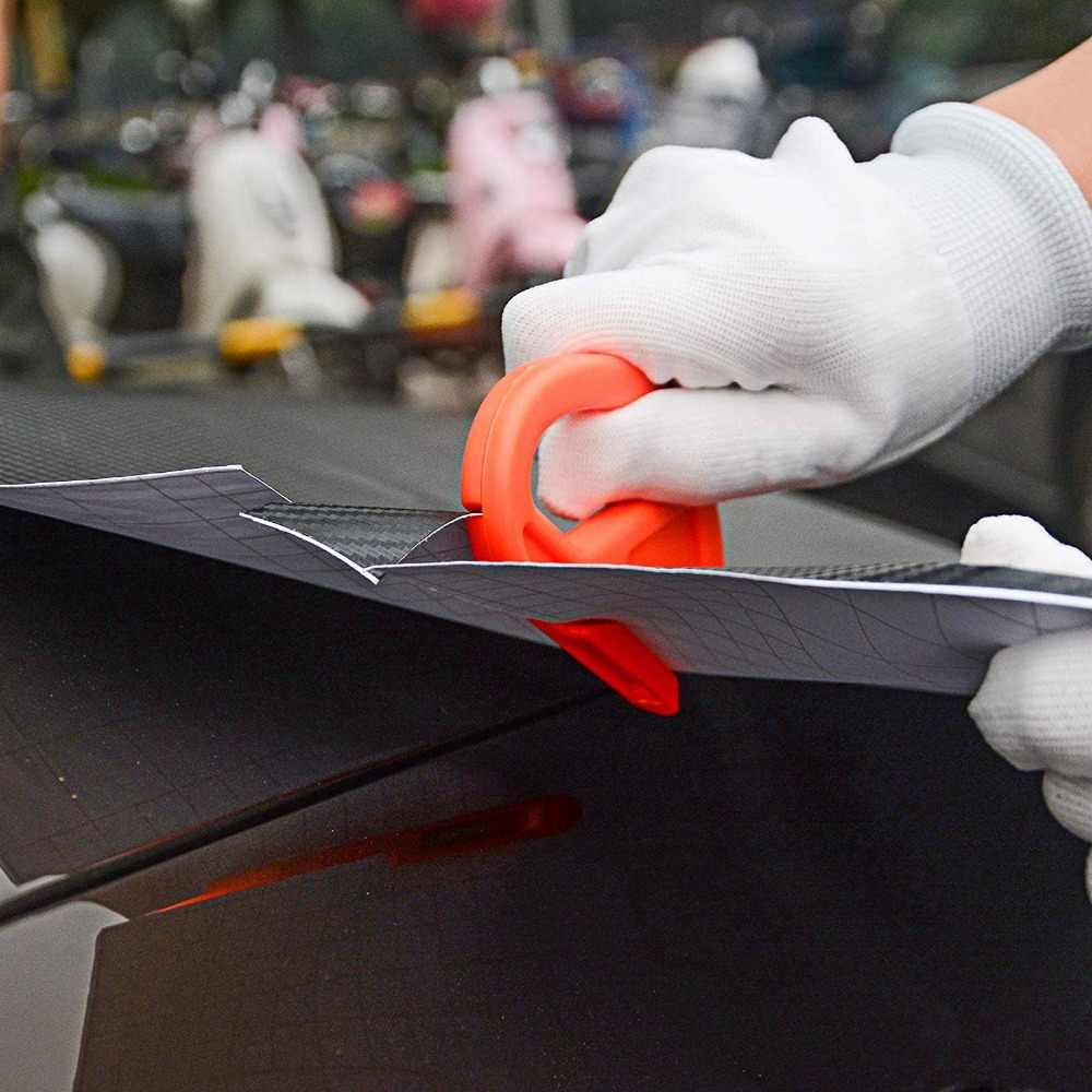 Foshio Serat Karbon Film Lembar Magnetik Tongkat Squeegee 200 Cm Tape Vinyl Wrap Sticker Pisau Warna Jendela Aksesoris Mobil