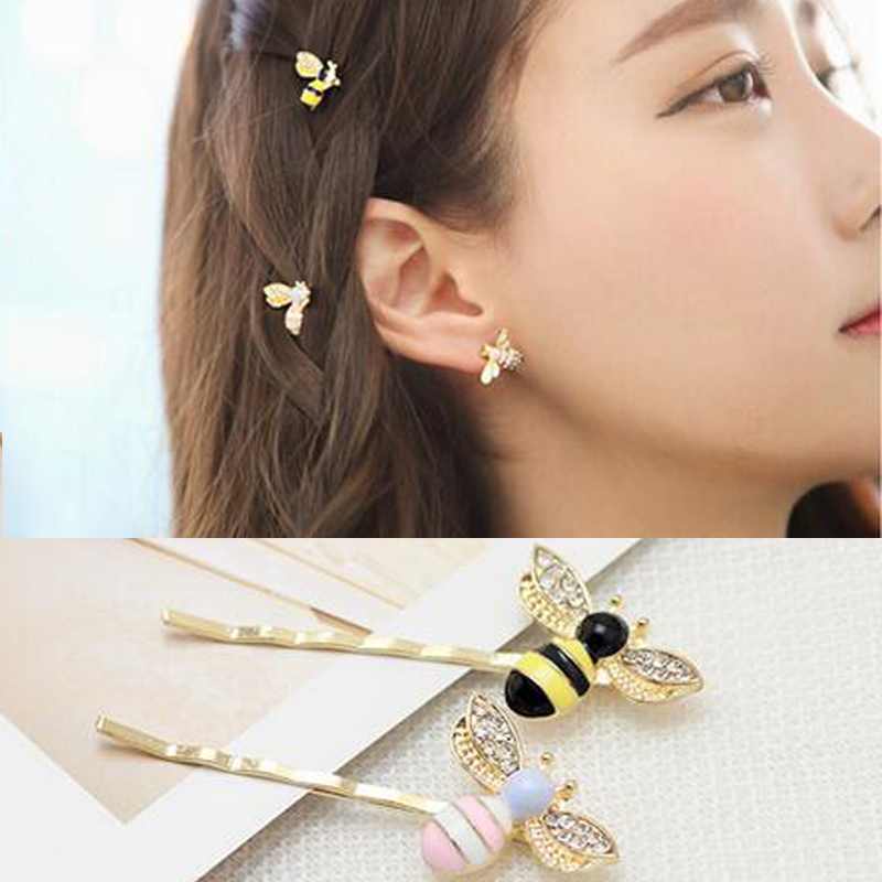 New Colorful Girls Barrettes Flying Bee Hair Clip Pins Cute Pink Black Hair Jewelry Rhinestone Hair Accessories Hairpins in Hair Jewelry from Jewelry Accessories