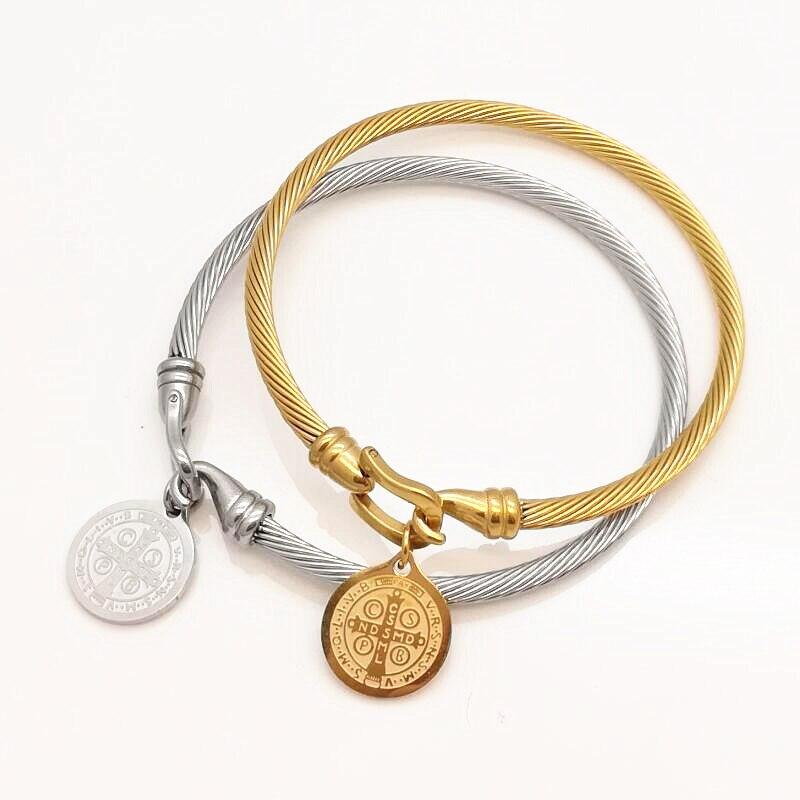 Luxusní slavné značky šperky Pulseira z nerezové oceli náramek náramek kříž a Madonna Tag náramek šperky ženy