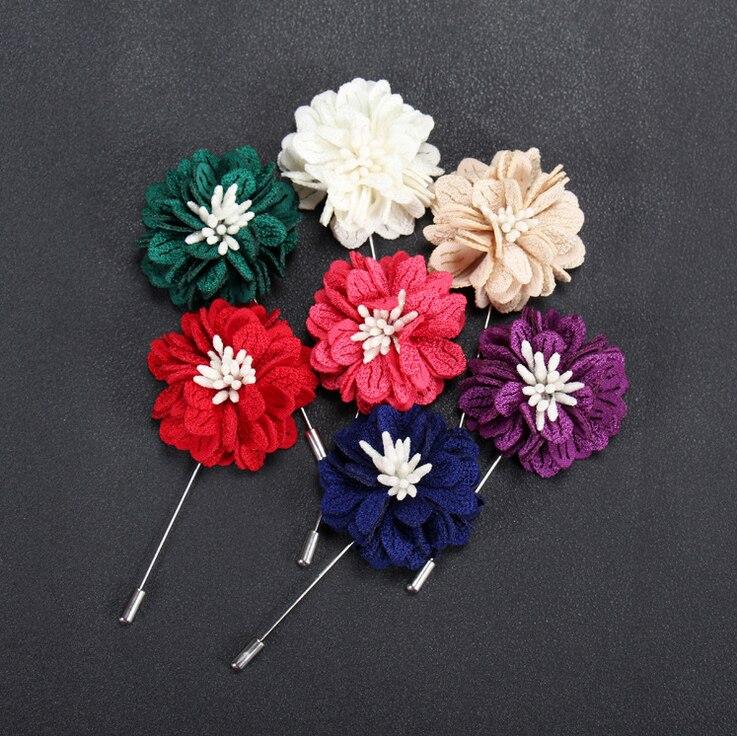 Fabric Peach Blossom Flower Brooch Fashion Elegant Men Women Lapel Pin Wedding Party Gift