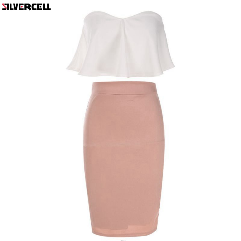 2019 Sexy Women Ladies Strapless Ruffle Crop Top + Pencil Skirt 2PCS Set Bandage Bodycon Party Dresses