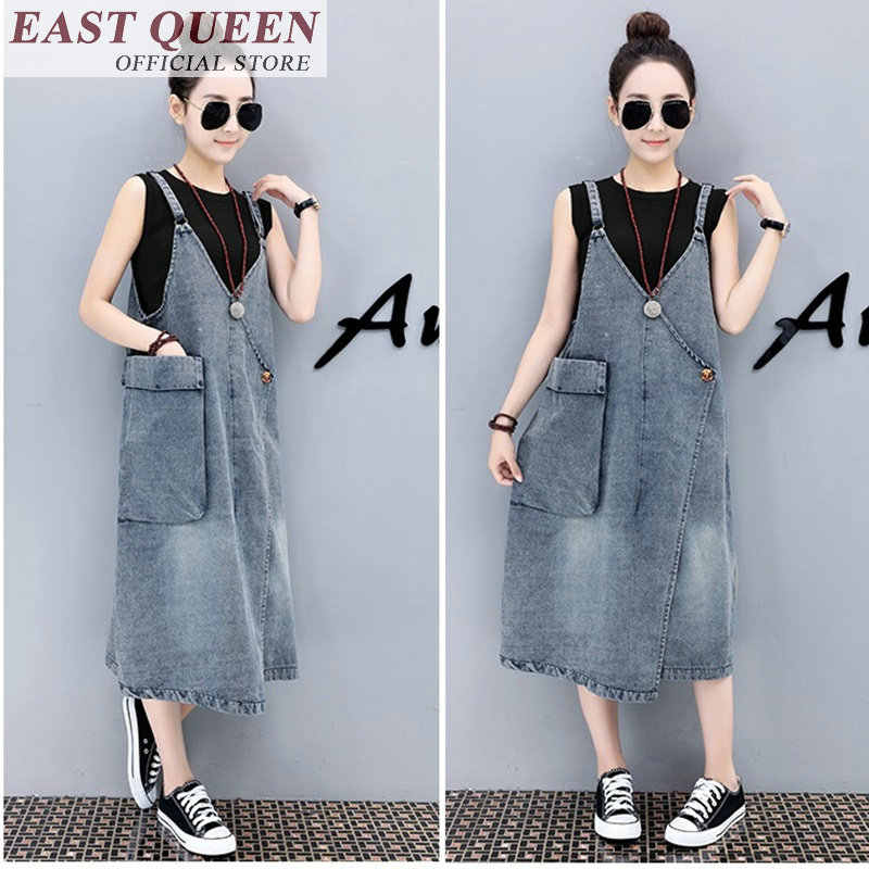 9474dfe74d Denim sundress female jean pinafore jumper high street dress women  asymmetric dresses with pocket FF128 S