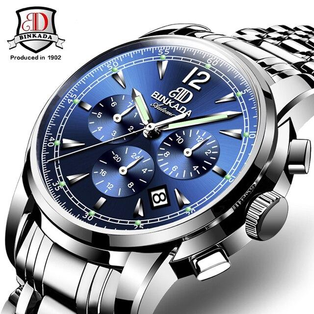 1251a106079 Relógios Homens Original BINKADA Automático Relógios Relogio masculino  Marca de Luxo relógio de Pulso À Prova