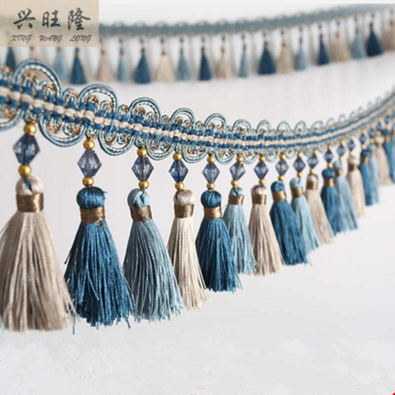 XWL New 6M Lot 10cm Wide Curtain Accessories Crystal Beads Lace Tassel Fringes Trim Ribbons DIY