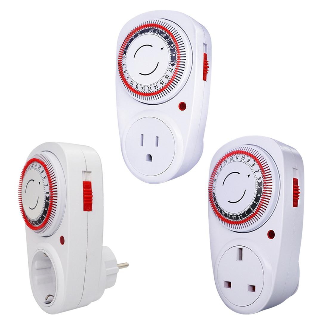 24 Hour Plug-in Programmable Mechanical Electrical EU /US /UK Plug Program Timer Power Switch 230V Energy Saver Temporizado
