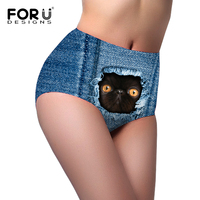 FORUDESIGNS High Waist Women Underwear 3D Jeans Cat Seamless Breathable Ladies Panties For Teenager Girls Fashion
